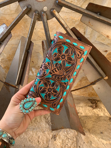 The Ole Ali Leather Wallet (Brown & Turquoise)