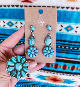 Somerset Flower Turquoise Earring Set