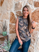 The Greenville Distressed Camo Tank