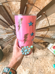 The Retro Lightning Bolt and Stars Tumbler (Pink)