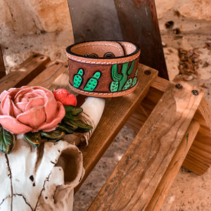 Sunflower and Cactus Leather Cuff