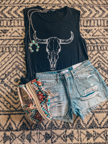 The Burnet Bull Skull Tank Top