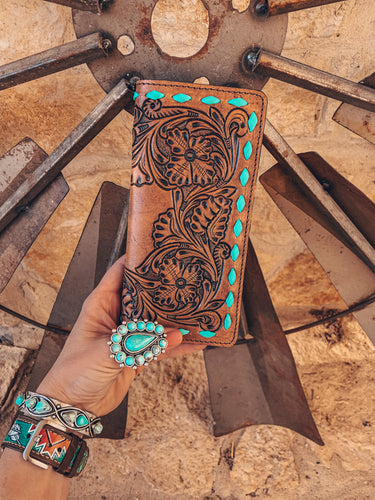 The Ole Ali Leather Wallet (Turquoise Stitching)