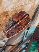 Leather Tooled Purse Strap (White Stitching)