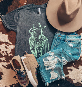 The Desert Cowgirl Tee (Charcoal)