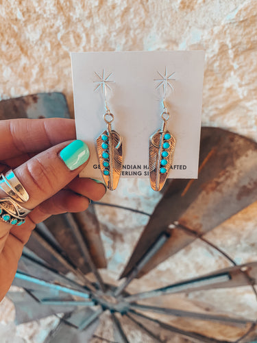 The Lyden Turquoise Feather Earrings