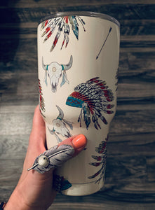 Warrior Cow Skull Tumbler