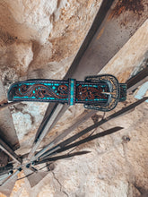 The Burleson Tooled Leather Belt (Blue)