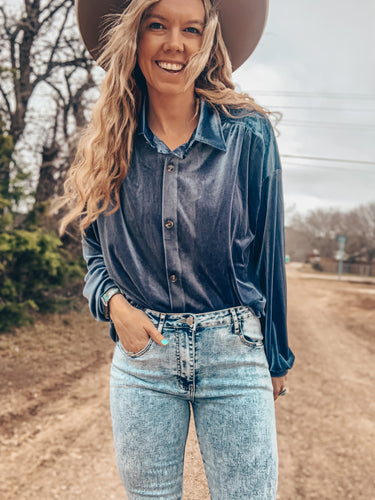 The Virginia City Velvet Button Down (Blue)