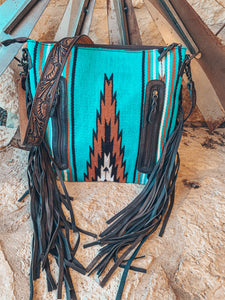 The Ole Mattie Saddle Blanket Bag (Turquoise & Brown)