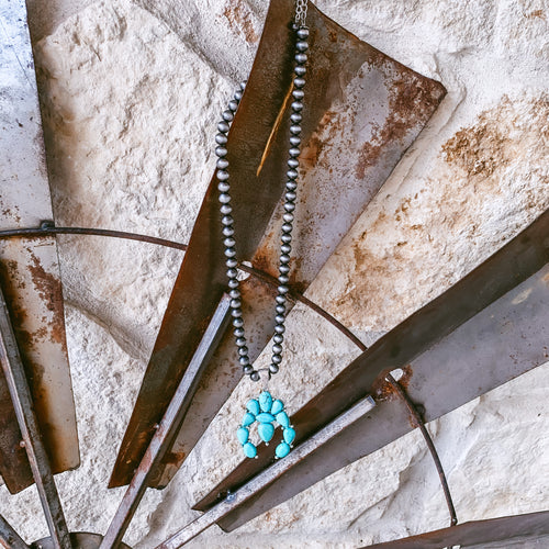 The Sealy Turquoise Squash Blossom Necklace