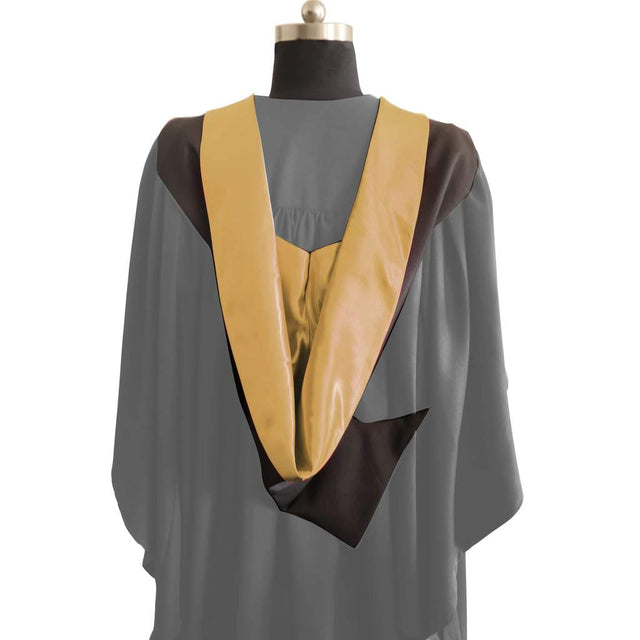 Bachelors Shape Burgon Academic Hood - Gold & Black