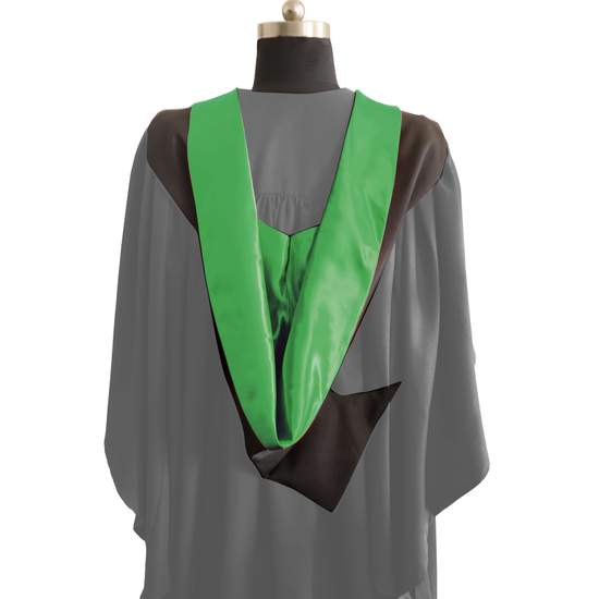 Bachelors Shape Burgon Academic Hood - Emerald Green & Black