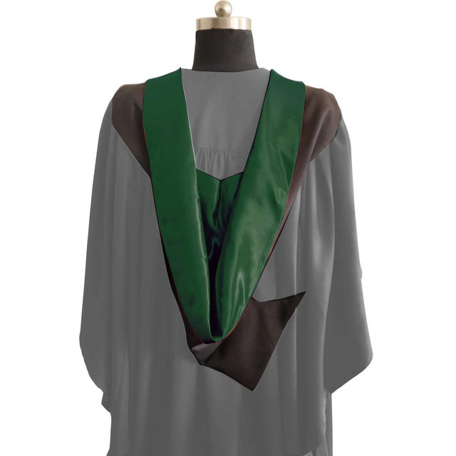 Bachelors Shape Burgon Academic Hood - Hunter Green & Black