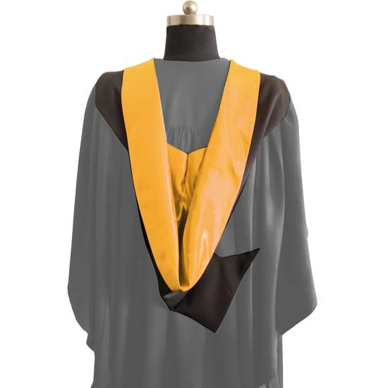 Bachelors Shape Burgon Academic Hood - Bright Gold & Black