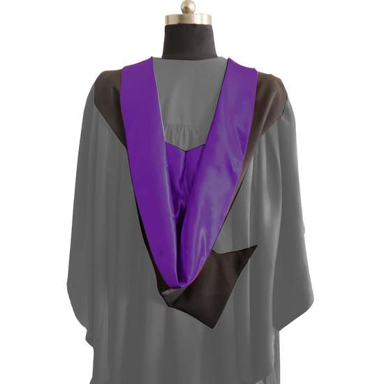 Bachelors Shape Burgon Academic Hood - Purple & Black