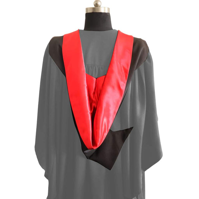 Bachelors Shape Burgon Academic Hood - Red & Black