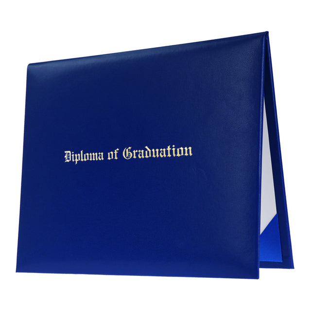 Royal Blue Imprinted Graduation Diploma Cover - Graduation UK