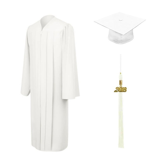 White High School Cap, Gown & Tassel - Graduation UK