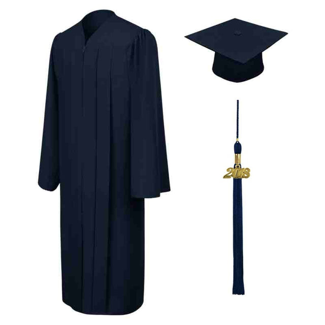Navy Blue High School Cap, Gown & Tassel - Graduation UK