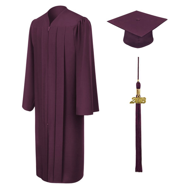 Maroon High School Cap, Gown & Tassel - Graduation UK