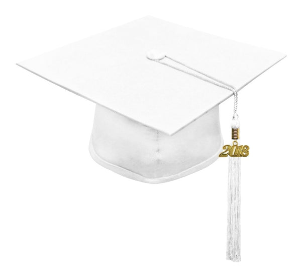 White Primary / Secondary Cap & Tassel - Graduation UK
