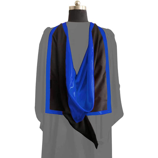 Masters Full Shape Academic Hood - Royal Blue & Black