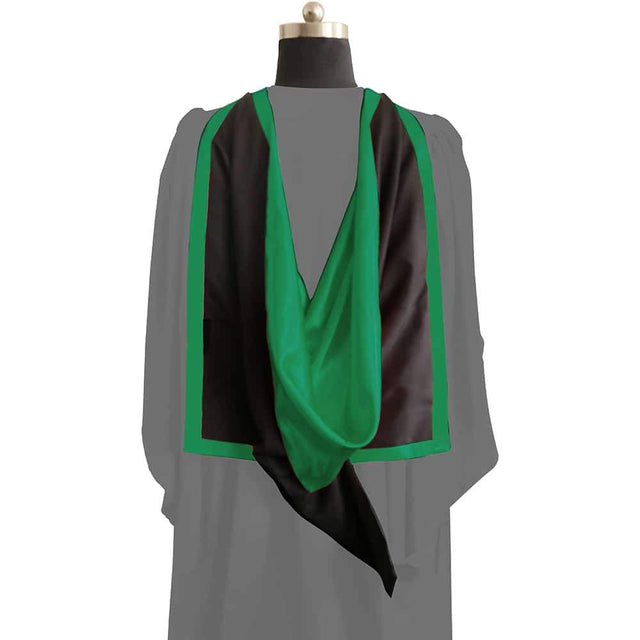 Masters Full Shape Academic Hood - Emerald Green & Black