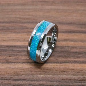 Pacific-Sapphire-Blue-Crushed-Opal-Titanium-Ring