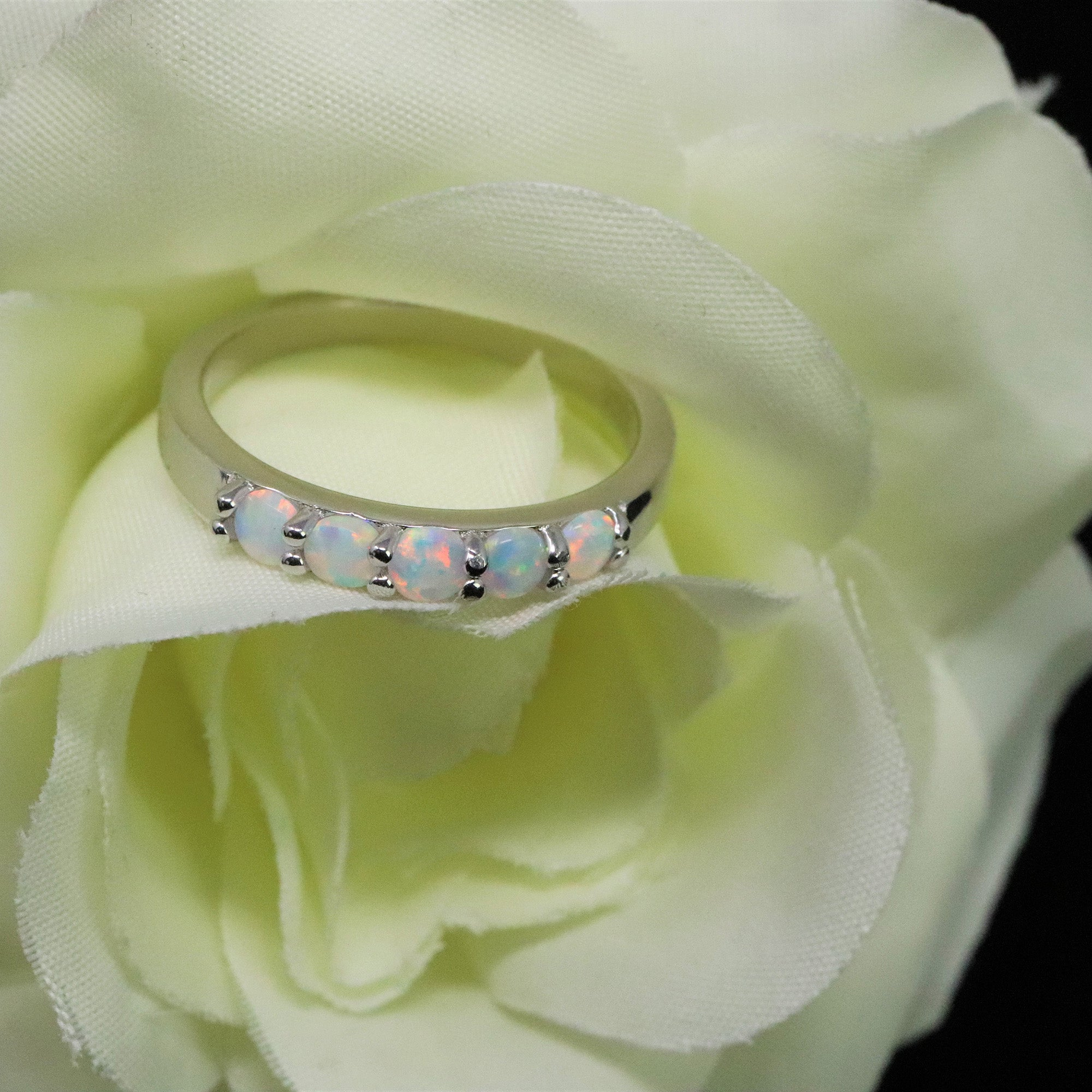 5 Stone Round Cut Pearl White Opal Ring - 925 Sterling Silver Stackable Ring