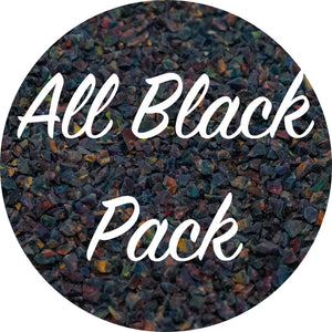 All Black Crushed Opal Value Pack - Black Emerald, Black Fire, Lava Rock, Moonstone