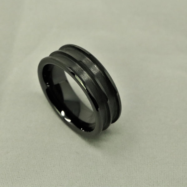 Black Ceramic Double Channel Ring Blank 8mm Wide 2.5mm Channels