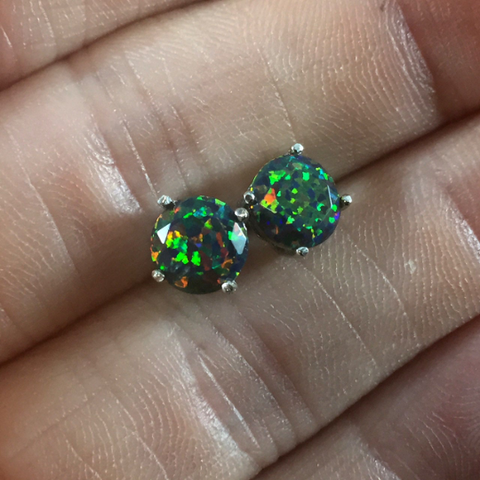 Faceted Black Fire Opal Stud Earrings White Gold Plated 7mm