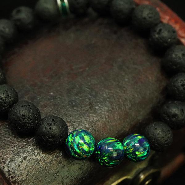 Unisex Black Emerald & Lava Stone Beaded Bracelet