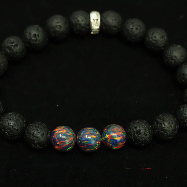 Unisex Black Fire & Lava Stone Beaded Bracelet