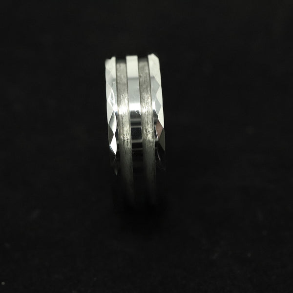 Faceted/Hammered Tungsten Double Channel Ring Blank 8mm Wide 1.5mm Channels