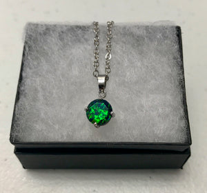 Faceted Black Emerald Opal Necklace 8mm