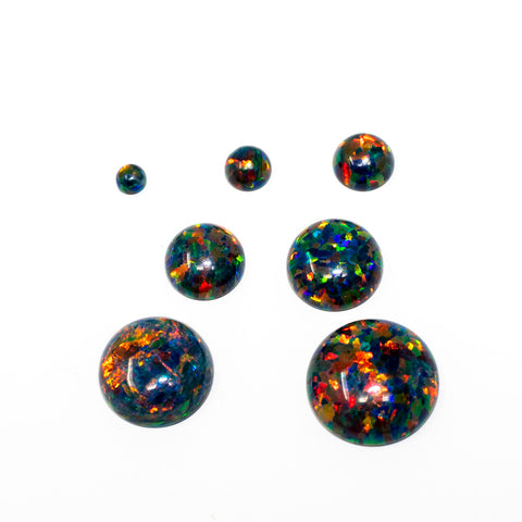 Black Fire Opal Round Cabochon