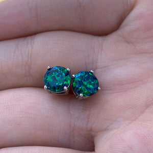 Faceted Black Emerald Opal Stud Earrings White Gold Plated 7mm
