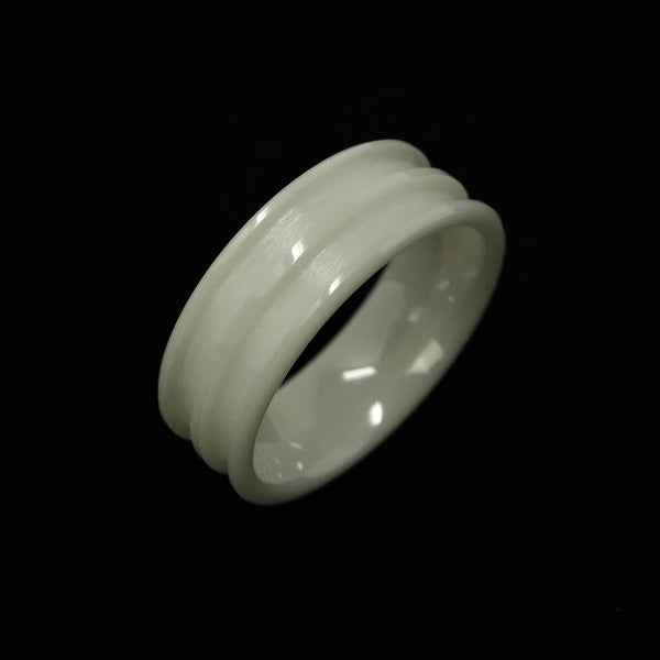 White Ceramic Double Channel Ring Blank 8mm Wide 2.5mm Channels