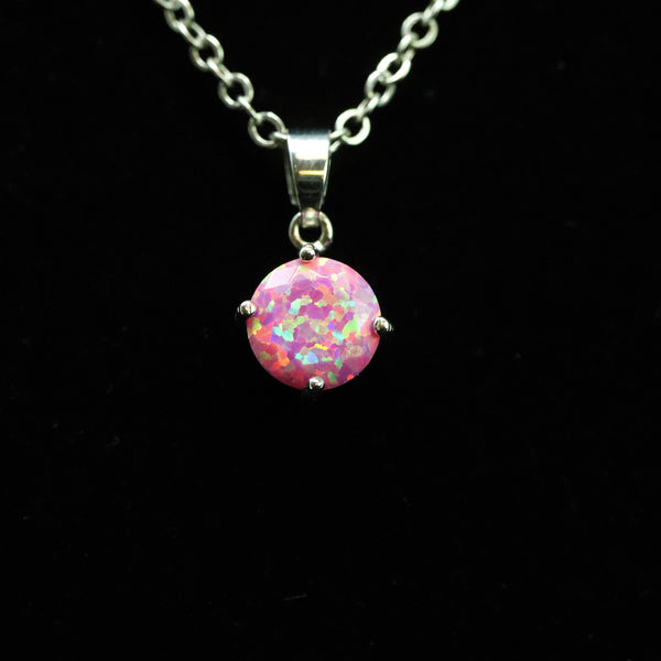Faceted Aurora Opal Necklace White Gold Plated 8mm