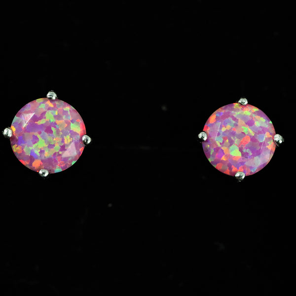 Faceted Aurora Opal Stud Earrings White Gold Plated 5mm/6mm/7mm
