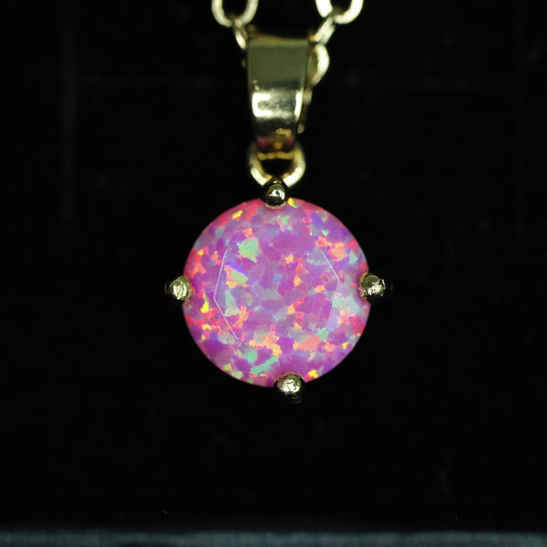 Faceted Aurora Opal Necklace 14k Gold Plated 8mm