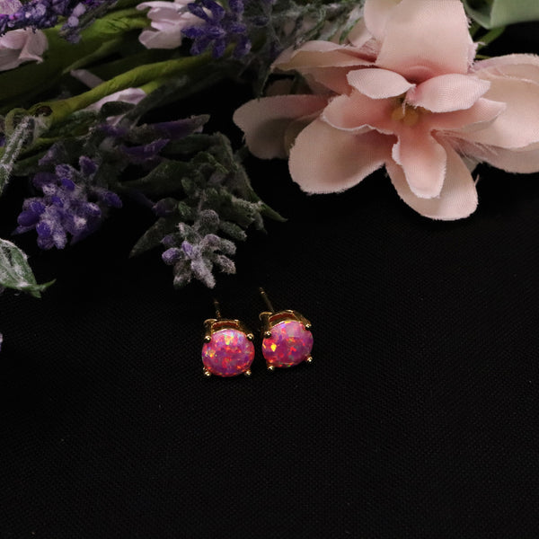 Faceted Aurora Opal Stud Earrings 14k Gold Plated