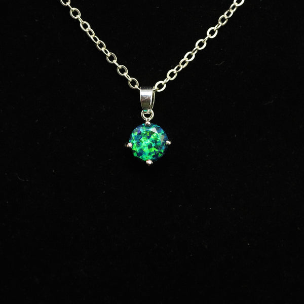 Faceted Black Emerald Opal Necklace White Gold Plated 8mm