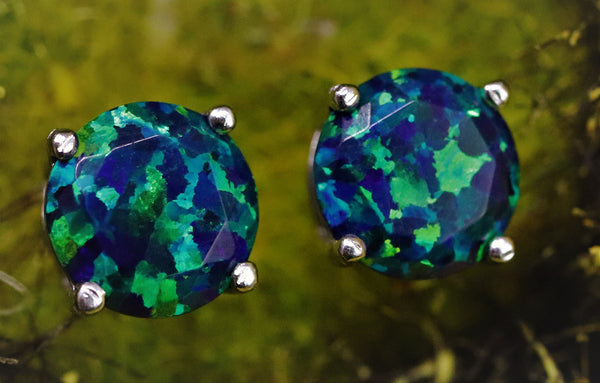 Faceted Black Emerald Opal Stud Earrings White Gold Plated 5mm/6mm/7mm