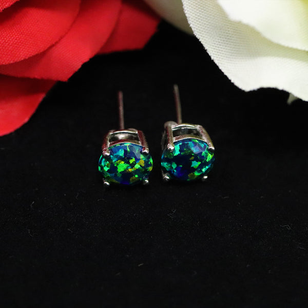 Faceted Black Emerald Opal Stud Earrings White Gold Plated