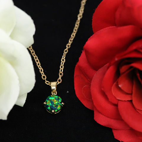 Faceted Black Emerald Opal Necklace 14k Gold Plated 8mm