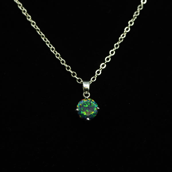 Faceted Black Fire Opal Necklace White Gold Plated 8mm