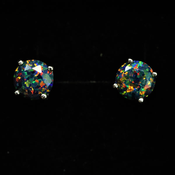 Faceted Black Fire Opal Stud Earrings White Gold Plated 5mm/6mm/7mm